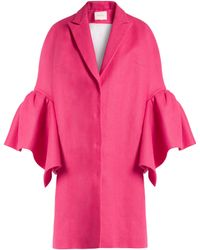 Delpozo | Fluted-sleeved Linen Coat | Lyst