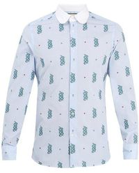 Gucci - Motif-jacquard Cotton Shirt - Lyst