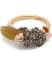 Bibi Van Der Velden - Monkey On Banana Diamond & 18kt Gold Ring - Lyst