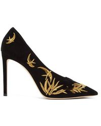 Jimmy Choo - Sophia 100 Embroidered Suede Court Shoes - Lyst