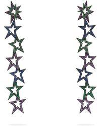 Lynn Ban - Staggered Stardust Tsavorite & Rhodium Earrings - Lyst