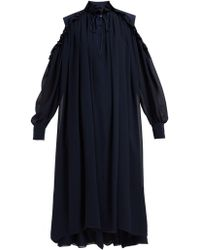 Chloé - Robe midi en georgette de soie à épaules dénudées - Lyst
