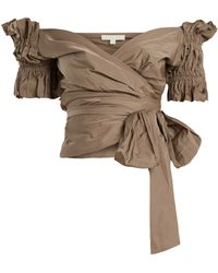 Jonathan Simkhai | Off-the-shoulder Ruched Taffeta Wrap Top | Lyst