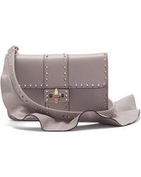Valentino - Rockstud Ruffle Strap Cross Body Leather Bag - Lyst