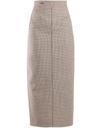 Fendi - Logo Waist Check Wool Blend Pencil Skirt - Lyst