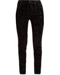 Saint Laurent - Flocked Velvet Leopard-print Jeans - Lyst