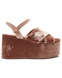 Miu Miu - Crossover Velvet Flatform Sandals - Lyst