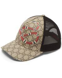 0b31ecca313 Lyst - Gucci Kingsnake Print Gg Supreme Baseball Hat in Natural for Men
