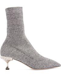 Miu Miu - Ribbed Knit Metallic Glitter Sock Ankle Boots - Lyst