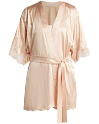 Fleur Of England - Lace-trimmed Silk-blend Kimono - Lyst