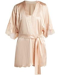 Fleur Of England - Lace Trimmed Silk Blend Robe - Lyst