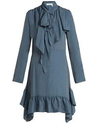 See By Chloé - Ruffled Crepe De Chine Mini Dress - Lyst
