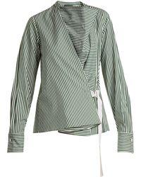 JOSEPH - Arran Striped Cowl-neck Wrap Shirt - Lyst