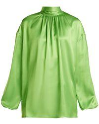 Prada - High-neck Tie-back Silk Blouse - Lyst