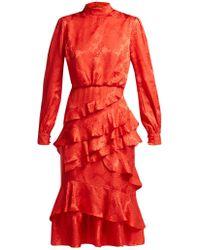 Saloni - Isa Floral Jacquard Silk Dress - Lyst