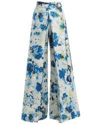 By. Bonnie Young - Floral-print Wide-leg Cotton-blend Wrap Trousers - Lyst