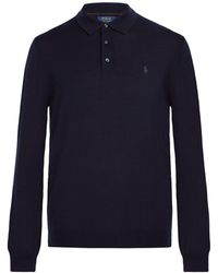 Polo Ralph Lauren - Logo Embroidered Long Sleeved Wool Polo Shirt - Lyst