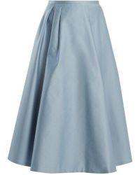 Rochas - Pleated Duchess-satin Midi Skirt - Lyst