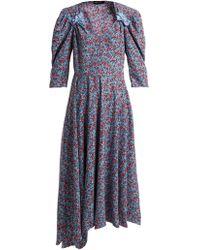 Anna October - Bow Embellished Floral Print Dress - Lyst