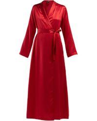 La Perla - Robe de chambre en satin de soie Lunga - Lyst