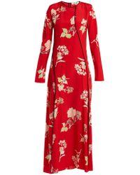 Diane von Furstenberg   Split-hem Silk Crepe De Chine Dress   Lyst