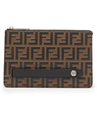 Fendi - Logo Embossed Leather Pouch - Lyst