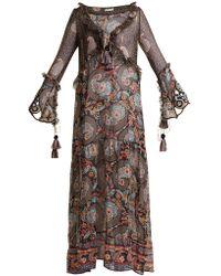 Anjuna - Ciclade Floral-print Tassel-trimmed Silk Dress - Lyst