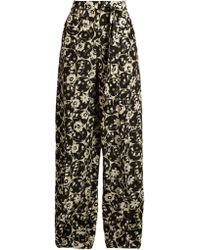 Valentino - Circle Flower-print Crepe De Chine Trousers - Lyst