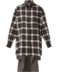 Balenciaga - Sweatshirt Detail Checked Cotton Shirt - Lyst