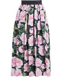 Dolce & Gabbana - Peony Printed Cotton Poplin Midi Skirt - Lyst