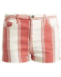 FRAME - Le Cut Off Striped Shorts - Lyst