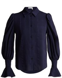 See By Chloé - Bishop-sleeve Checked Cotton Shirt - Lyst