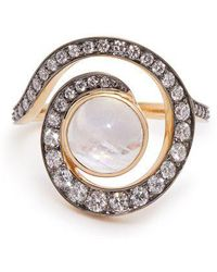 Noor Fares - Planet Spiral 18kt Gold, Diamond & Moonstone Ring - Lyst