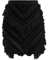 Balmain - Chevron-fringed Cotton-blend Mini Skirt - Lyst