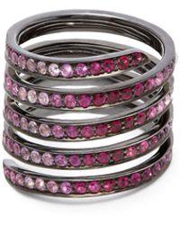 Lynn Ban - Coil Sapphire, Ruby & Rhodium-plated Ring - Lyst