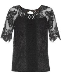 Burberry Prorsum - Round-neck Contrast-lace Top - Lyst