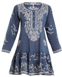 Juliet Dunn - Round-neck Embroidered Cotton Kaftan - Lyst