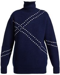 Raf Simons - Stitched High-neck Wool Sweater - Lyst