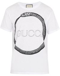 Gucci - Snake And Logo-print Cotton T-shirt - Lyst