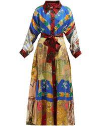 Rianna + Nina - Vintage Patchwork Belted Silk Maxi Shirtdress - Lyst