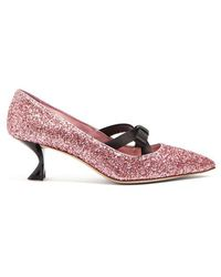 Miu Miu - Bow-embellished Glitter Pumps - Lyst