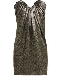 Saint Laurent - Strapless Metallic Jacquard Mini Dress - Lyst