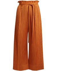 Pleats Please Issey Miyake - Paperbag-waist Wide-leg Pleated Cropped Trousers - Lyst