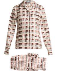 Prada - Lipstick Print Silk Pyjama Set - Lyst