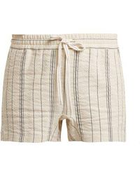 See By Chloé - Striped Cotton And Linen-blend Shorts - Lyst