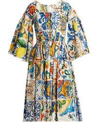 Dolce & Gabbana - Majolica Print Square Neck Cotton Poplin Dress - Lyst