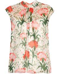 Erdem - Iona Carnation-print Silk-voile Top - Lyst