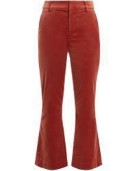 FRAME   Cropped Kick-flare Velvet Trousers   Lyst