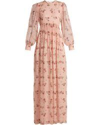 Emilia Wickstead - Pia Rose-print Silk-chiffon Dress - Lyst