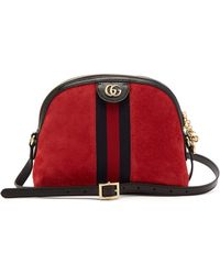 03ad0166f Gucci Ophidia GG Suede Cross-body Bag in Green - Lyst